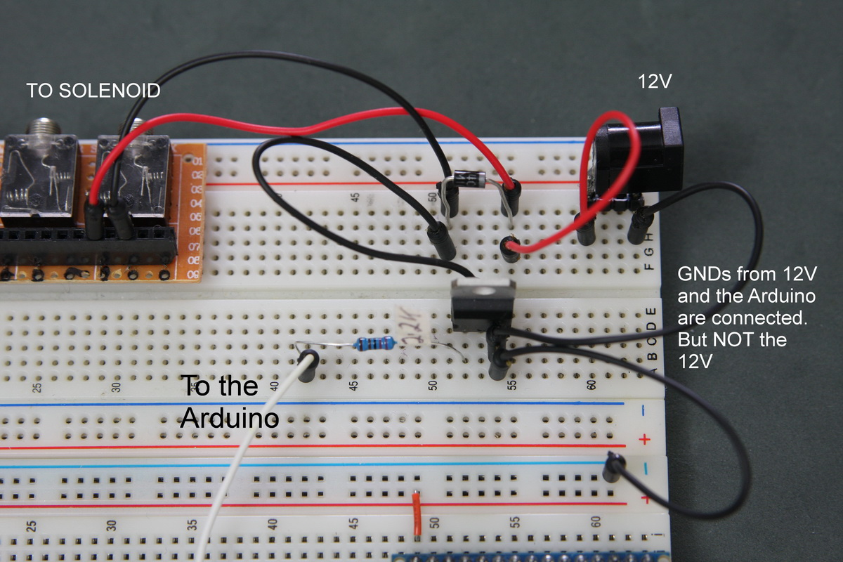Controlling A Solenoid Valve From An Arduino Martyn Currey Wiring Diagram Circuit On Breadboard