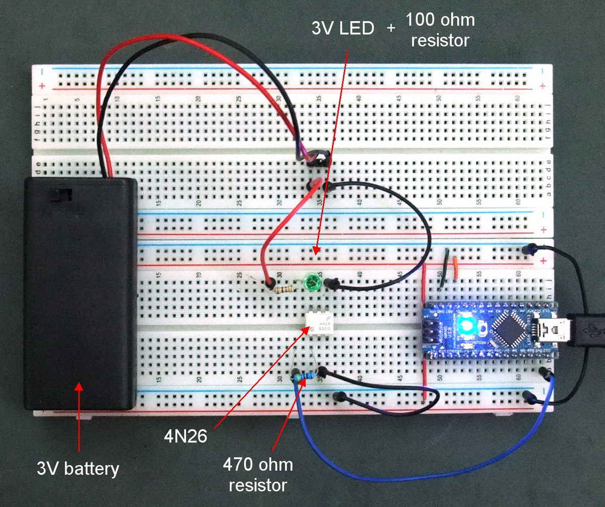 Arduino With Optocouplers Martyn Currey 470 Ohm Resistor Wiring Diagram 4n26 Optocoupler Test Circuit