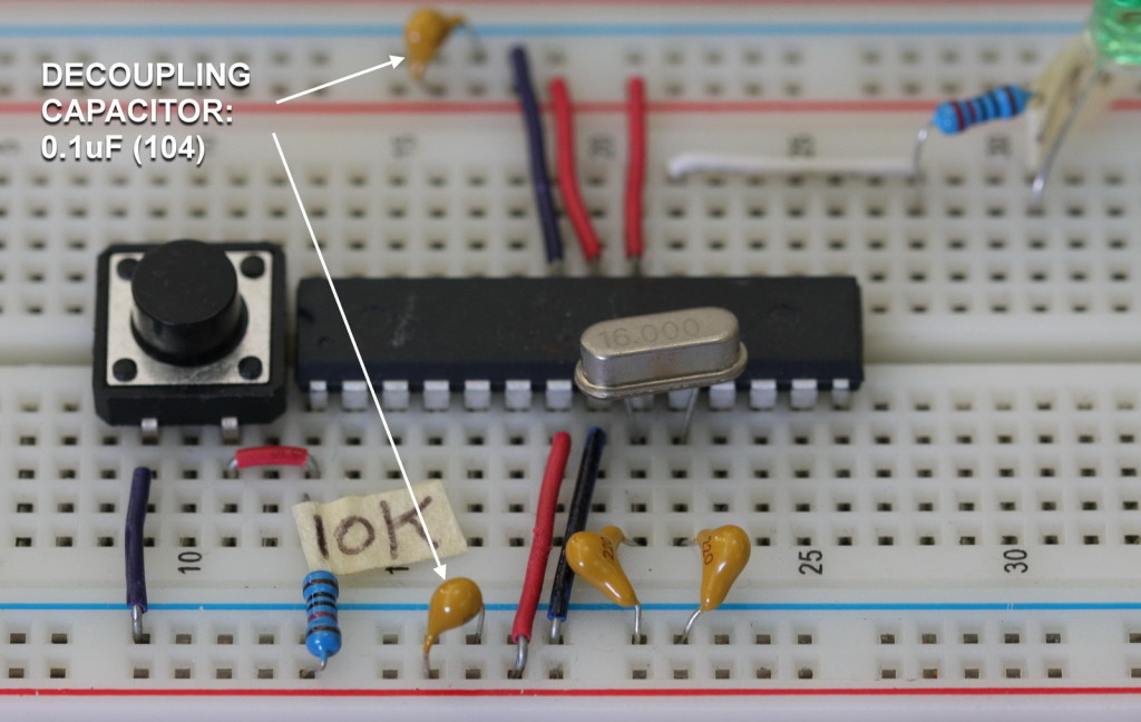 Arduino on breadboard - decoupling capacitor