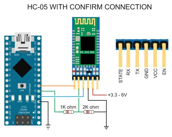 HC-05 WITH CONFIRM CONNECTION CIRCUIT