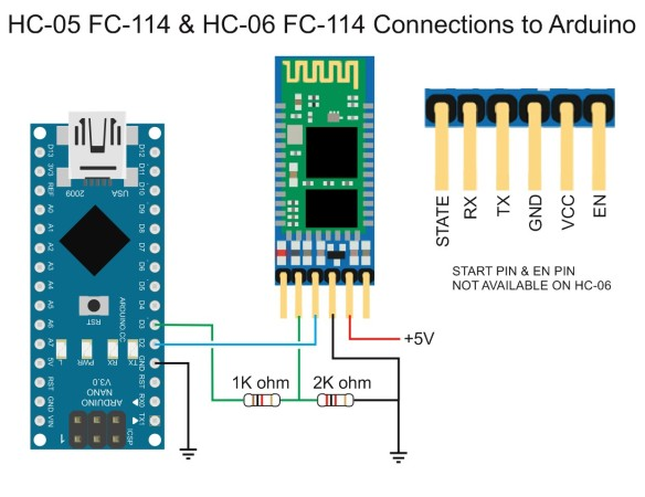 HC-05 FC-114 & HC-06 FC-114 Connections to Arduino