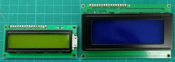 A 16x2 and a 20x4 character LCD display