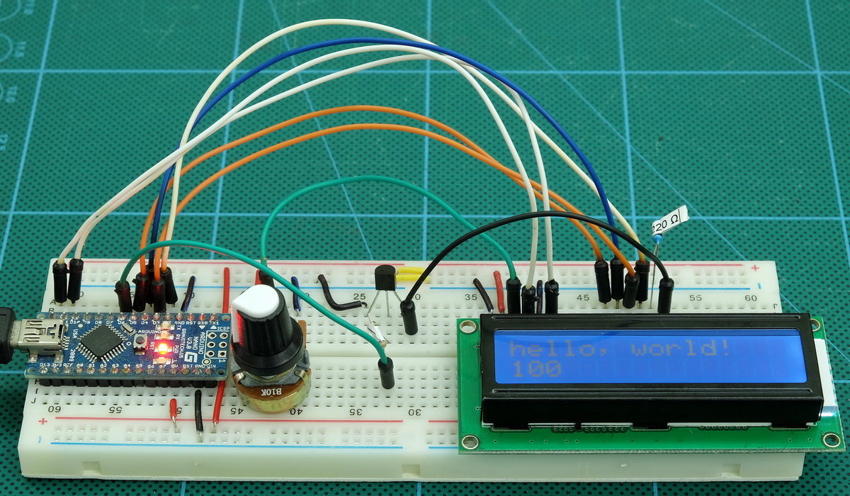 Arduino With Hd44780 Based Character Lcds Martyn Currey Lcd Module In 4bit Mode Circuit Diagram Backlight Breadboard 001 1200 Lcdsparallel Circuitdiagram 004 2n2222